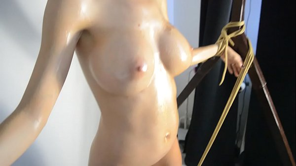 Oiled, Tied up, Oil, Fucking machine